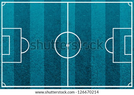 The blue soccer field with lines