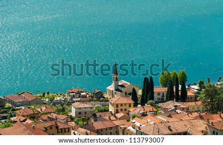 The blue water of Lake Como on a windy but sunny day.