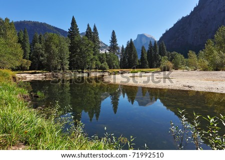 The blue water of the river Merced in Yosemite. Fine autumn day