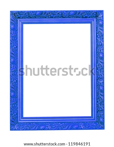 The blue wooden photo frame isolated on white