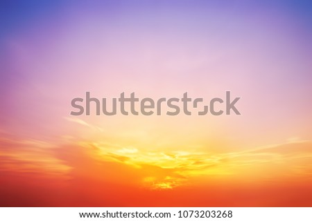 The blur pastels gradient sunset background on soft nature sunrise peaceful morning beach outdoor. heavenly mind view at a resort deck touching sunshine, sky summer clouds. #1073203268