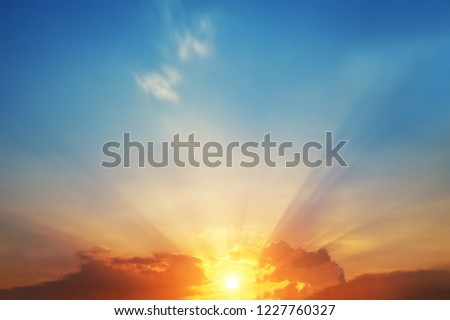 The blur pastels gradient sunset background on soft nature sunrise peaceful morning beach outdoor. heavenly mind view at a resort deck touching sunshine, sky summer clouds. #1227760327