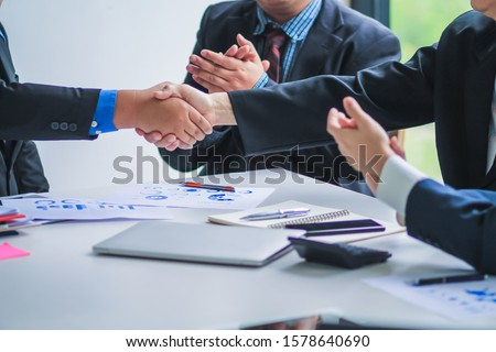 The board attends a meeting in the meeting room on business investment and annual operating results to review and develop additional investments in the future. Investment advisory concepts Stock photo ©