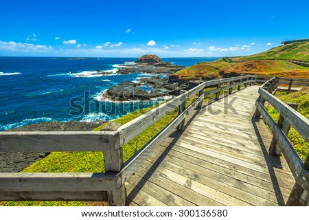 The boardwalks outside The Nobbies center overlook Seal Rocks. Grant Point, western tip of Phillip Island, Victoria, Australia.