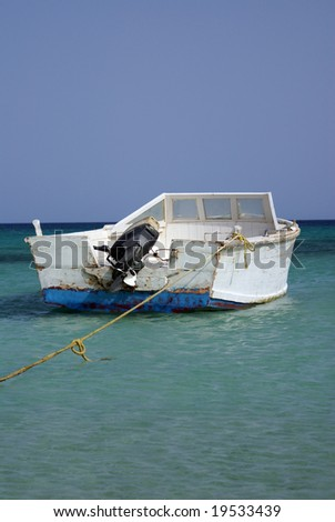 The boat near the shore. Red Sea, Egypt.