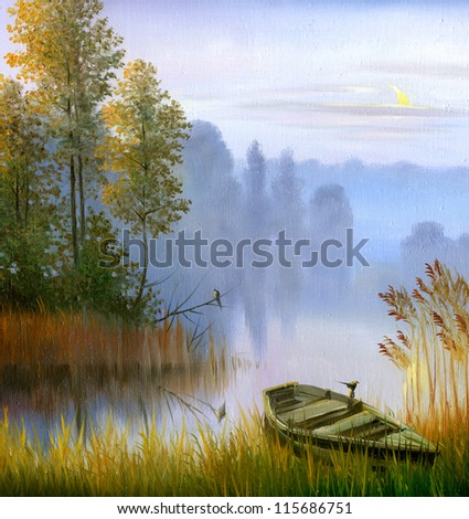 the boat on the bank of the lake, a canvas, oil - stock photo