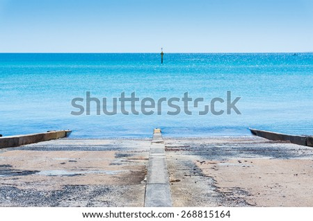 The boat ramp at Frankston, a satellite city of Melbourne, Australia on the Mornington Peninsula.  The boat ramp allows the launching of small boats from car trailers.