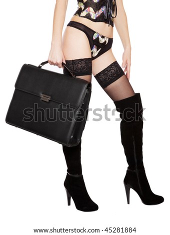 The body of a girl in black boots, bags and underwear