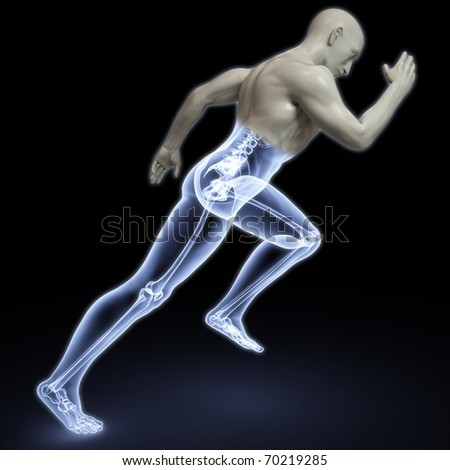 the body of a man running under the X-rays. isolated on black.