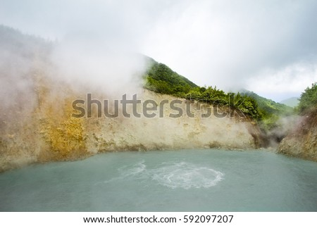The Boiling Lake is a natural wonder in Dominica, the Caribbean. It is a volcano-hydrothermal flooded fumarole, located in the Morne Trois Pitons National Park,