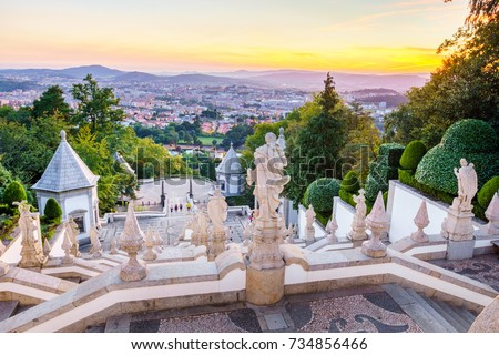 The Bom Jesus do Monte Sanctuary is located in the city of Braga, Portugal. It is one of the iconic location of Portugal,  with a long and beautiful stairways leading to the doors of the cathedral.