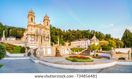 The Bom Jesus do Monte Sanctuary is located in the city of Braga, Portugal. It is one of the iconic location of Portugal,  with a long and beautiful stairways leading to the doors of the cathedral. #734856481