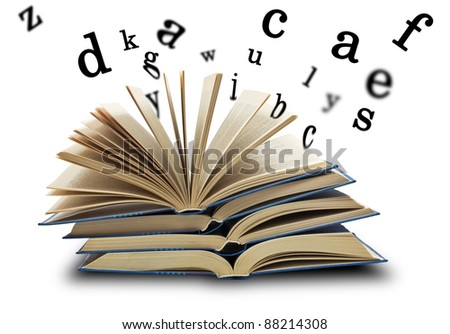 The book and the letters on white