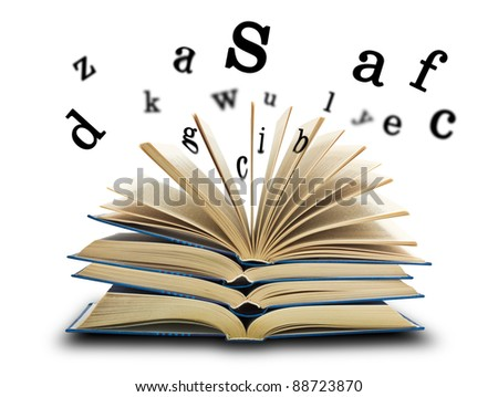 The book and the letters on white - stock photo