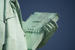 The Book Held by Statue of Liberty, New York City, USA.