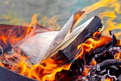 The book is burning on a bright fire. Burning book