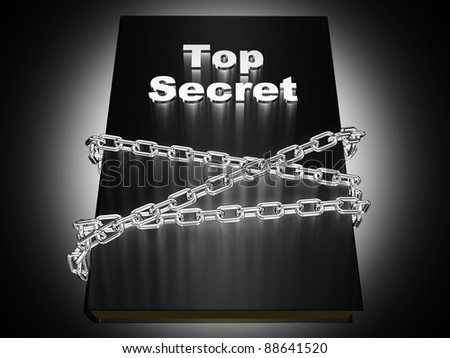 "The book is labeled ""Top Secret"", wrapped metal chain"