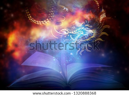 The book is magical and magical with dark glowing magic. And the magic dragon