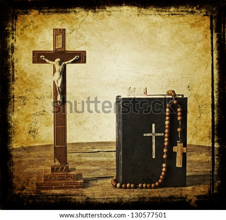 The book of Catholic Church liturgy and rosary beads/ Old holy bible