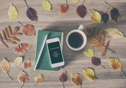 The book, the phone and a cup of tea on a wooden table with colorful autumn leaves, business concept with space for text, advertising, and any other design.