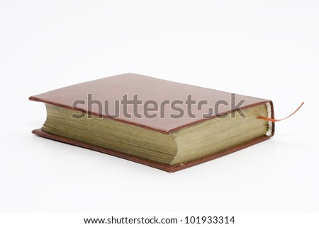 the book with red book-mark on white background