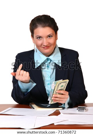 The bookkeeper counts money