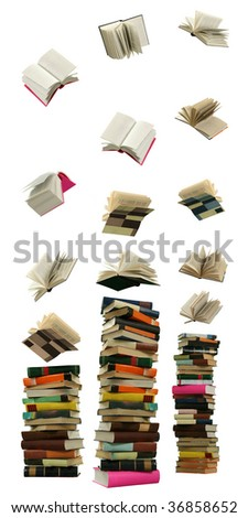 The Books fall overhand and are formed in high piles on the white background.