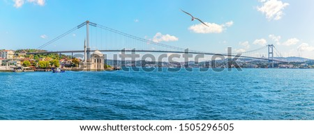 The Bosphorus Bridge and the Ortakoy Mosque in Istanbul, Turkey, panoramic view