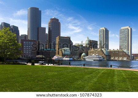The Boston Harbor in Boston, Massachusetts, USA on a sunny summer day.