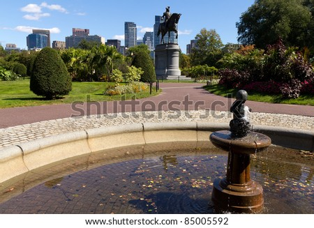 The Boston Public Garden in Massachusetts, USA.