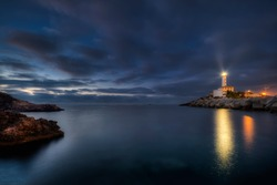 The Botafoc lighthouse or Botafoch, is a lighthouse located on the islet of Botafoc, on the north side of the entrance to the port of Ibiza, Balearic Islands