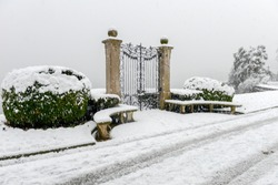 The botanical garden Ciani at Lugano on Switzerland with snow