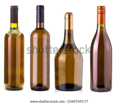 The  bottles of wine  isolated on white background #1260769177