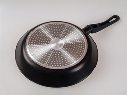the bottom of a modern frying pan suitable for induction cooktops, cooking pan, non-stick coating