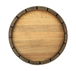 The bottom of a wine barrel on a white background