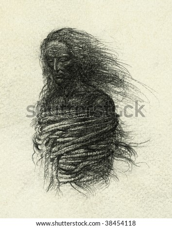 The bound man. Pencil on paper.