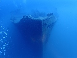 The bow of a shipwreck of the second world war in the sea of Liguria