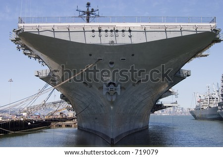 The bow of the aircraft carrier intrepid, docked at Alameda California.
