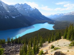 the Bow Summit, Peyto Lake, Banff National Park, Icefields Parkway, Rocky Mountains, Alberta, Canada, June