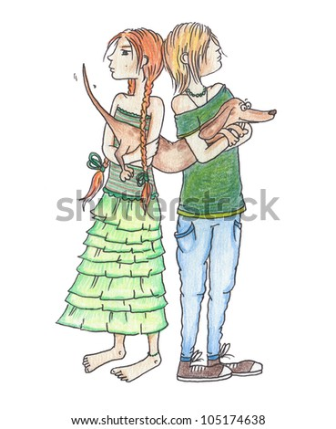 the boy and the girl quarreled and divide a dog