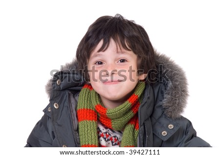 The boy in gray winter jacket and stripy muffler