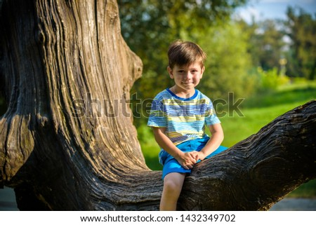 The boy is sitting on a log. The child walks in the summer forest. The kid sits on a fallen tree.