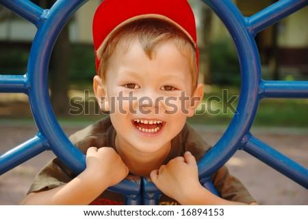 The boy laughs