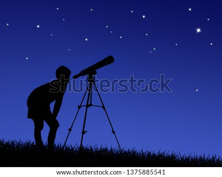 the boy looks at the stars through a telescope on the lawn #1375885541