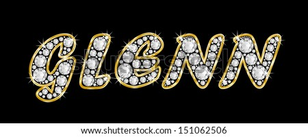 The boy, male name GLENN made of a shiny diamonds style font, brilliant gem stone letters building the word, isolated on black background.
