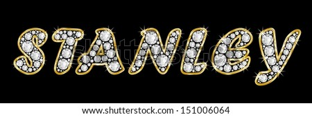 The boy, male name STANLEY made of a shiny diamonds style font, brilliant gem stone letters building the word, isolated on black background. Gold framed.