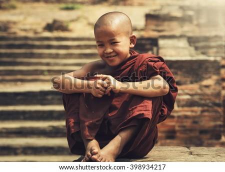 The boy of Novice Buddhist monk Myanmar.