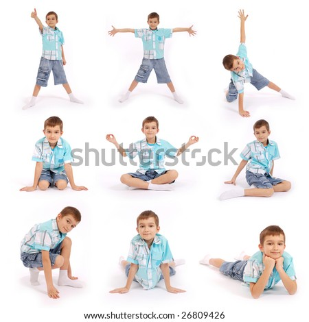 The boy poses, isolated on white background