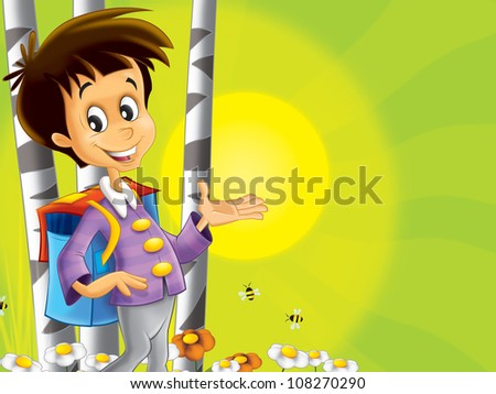 The boy standing near the tree with a backpack with a smile on his face - good and happy illustration for children 2