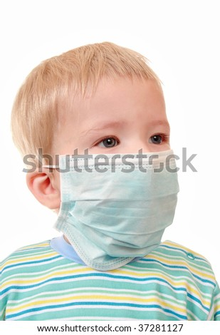 The boy uses a means of individual protection against infection